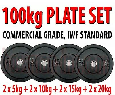 100kg BUMPER PLATE WEIGHT SET COMMERCIAL GRADE  - weights lifting body building
