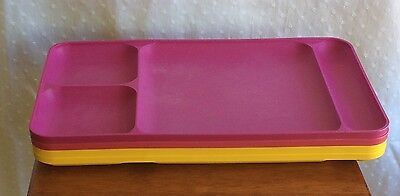Tupperware Lot/4 Yellow/Pink/Purple Dining Trays Picnic Daycare TV Tray