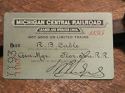 1895 Michigan Central Railroad Pass  Hand signed