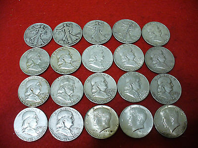 Big  Lot Of  20   90% Usa  Silver Half  Dollar  Coins  Nice Grades    Junk