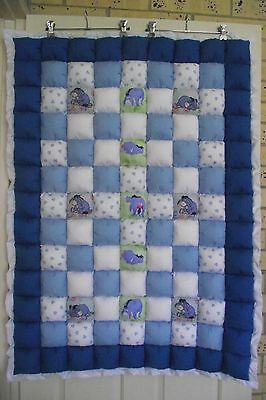 """*COT SIZE*  NEW """"Eeyore themed"""" Baby cot Quilt (puff quilt)"""