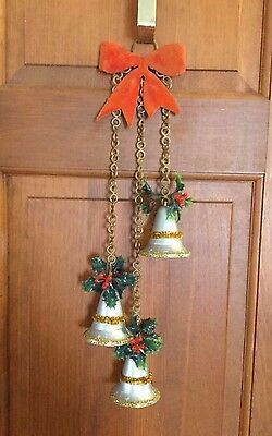 Vintage 60's Christmas Decor Silver and Gold Bells on Gold Chain w/ Red Ribbon