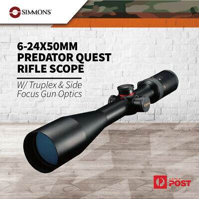 Simmons 6-24x50mm Predator Quest Rifle Scope w/ TruPlex & Side Focus Gun Optics