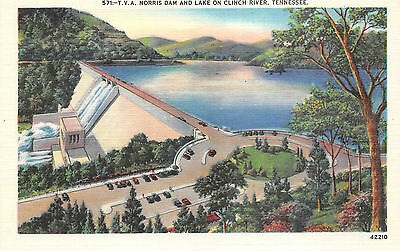 Norris Dam And Lake On Clinch River Tennessee Unposted Vintage Postcard Linen