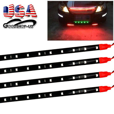 4 X Pure Red 30cm 12V Flexible 15-LED Strip Lights Car Motorcycle Decoration US