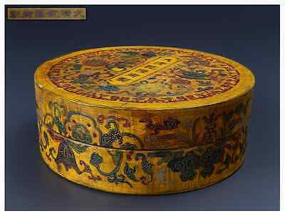 Chinese Qing Dynasty Wooden Box signed 大清乾隆御製 Qianlong / Φ 20.2× H 7.3 [cm]