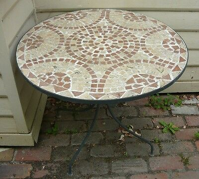 Outdoor mosaic tiled table - wrought iron legs. Ext condition. Garden clearout