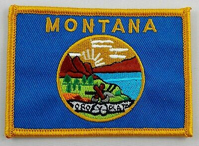 Montana State Flag Patch Embroidered Iron On Applique