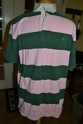 Vintage Ralph Lauren Polo Mens Rugby Shirt Pink & Green Stripe Size Large