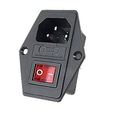 URBEST®Inlet Module Plug Fuse Switch Male Power Socket 10A 250V 3 Pin IEC320 C14