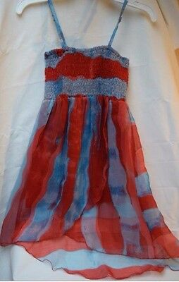 Red And Blue Girls Sundress Summer Dress So Cute! Size L 7/8
