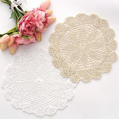 Crochet doilies white and cream 25 - 27 cm for millinery and crafts