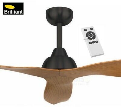 """NEW BRILLIANT BAHAMA 52"""" CHARCOAL/MAPLE 32w DC CEILING FAN WITH REMOTE 3 BLADE"""