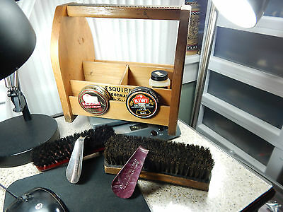 Vintage Esquire Footman DeLuxe Shoe Shine Box with Shoe Horns Brushes & Polish