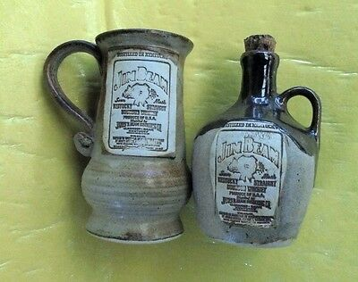 EARLY SMALL JIM BEAM CROCK/JUG/DECANTER & MATCHING STEIN 1990s