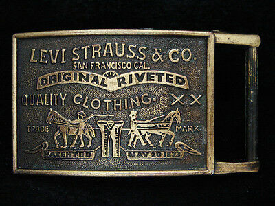 PA05148 *NOS* VINTAGE 1970s **LEVI STRAUSS & CO.** CLOTHING BRASSTONE BUCKLE