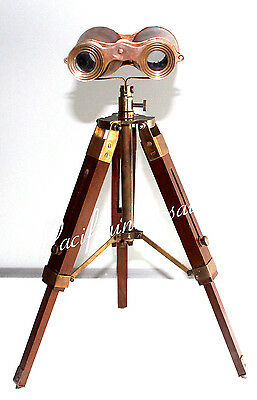 Antique Maritime Collectible Binocular With Wood Tripod Stand Ship Intrument.