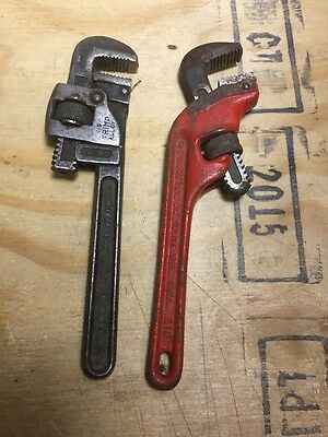 Vintage Plumbers Pipe Monkey Wrenches Adjustable Tools - Lot of 2 RIDGID