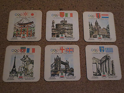 6 Original Coasters From The 1976 Montreal Summer Olympic Games Canada,very Rare