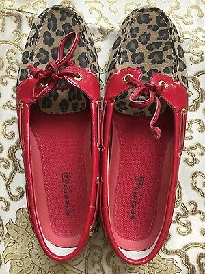 Sperry Top Sider ladies slip on red leather leopard print loafers sz 6.5 US