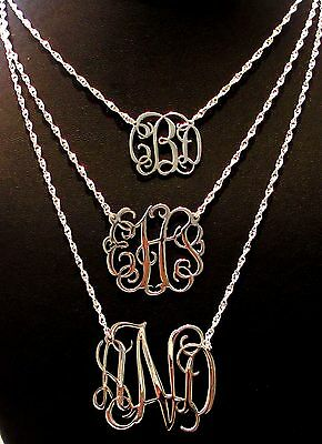 Personalized Sterling Silver 0.925  Monogram Necklace - Any Monogram & Necklace