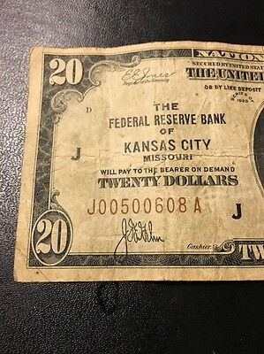 1929 National Currency $20 Bill