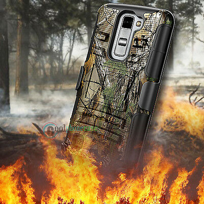 Hybrid Rugged Kickstand Rubber Holster Clip Hard Camo Case Cover for Cellphone