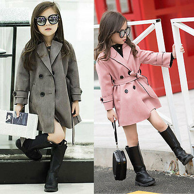2016 Girl Autumn Winter Trench Coat Wind Jacket Dress Kids Clothes Outwear