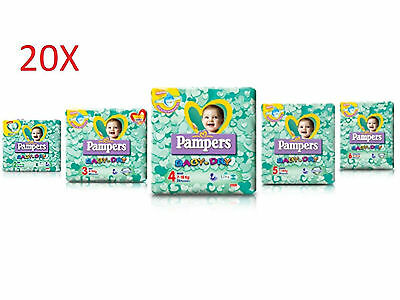 """20 Pacchi Di Pannolini Pampers """"baby Dry"""" Misure A Scelta."""