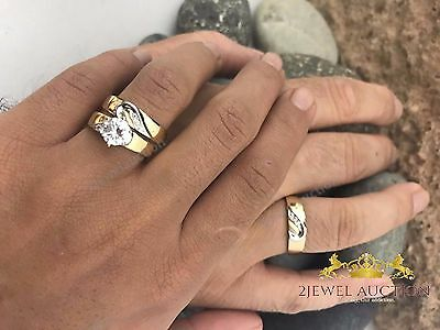 Matching Wedding 10K Yellow Gold Diamond His And Her Engagement Ring Set Trio