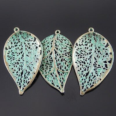 10pcs Antiqued Bronze Hollow Green Tree Leaf Shape Alloy Pendant Charms Jewelry
