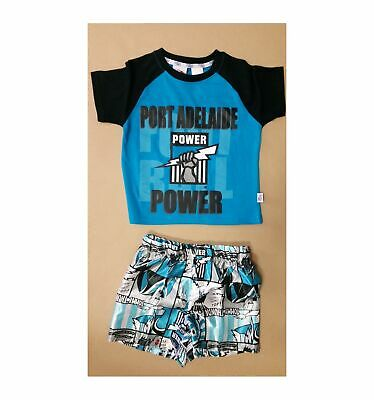 Port Adelaide Power Official AFL Toddler Summer Pyjamas Satin Boxers Tshirt 2016