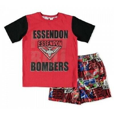 Essendon Bombers Official AFL Youth Summer Pyjamas Satin Boxers TShirt