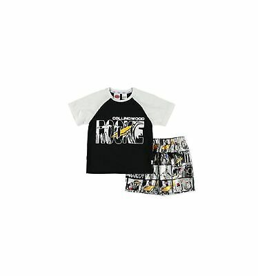 Collingwood Magpies Official AFL Toddler Summer Pyjamas Satin Boxers Tshirt