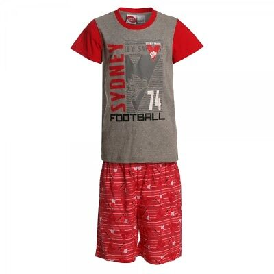 Sydney Swans Official AFL Summer Youth Pyjamas Cotton Boxers TShirt