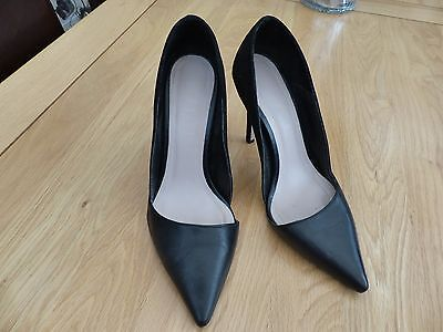 Office Black Leather & Suede Stiletto Shoes Size Uk 5