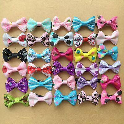50PCS/lot Dogs mix bow Dog Puppy Hairpins Pet Grooming cat ribbon Hair Clips