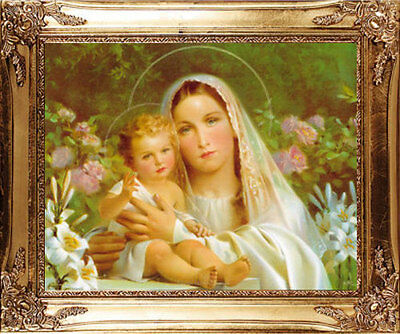 Large Madonna & Child Mary & Jesus Gold Framed Picture - Statues Candles Listed