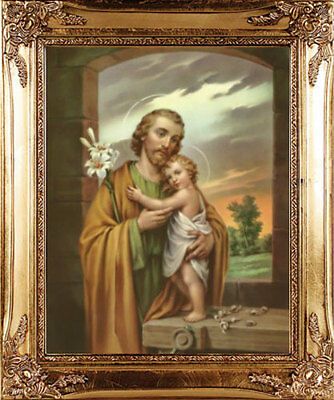 SAINT JOSEPH /& BABY JESUS FRAMED PICTURE 100/'s OF STATUES /& CANDLES LISTED M10
