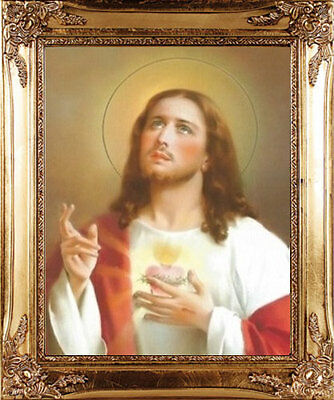 Large Sacred Heart Of Jesus Gold Framed Picture - Statues Candles Crosses Listed