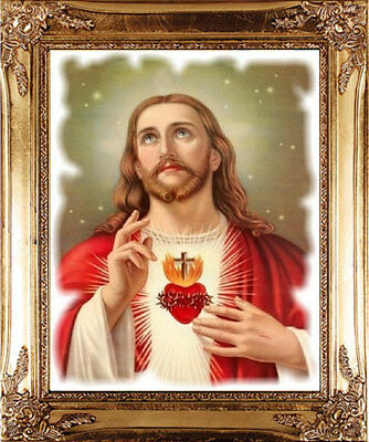 Large Sacred Heart Of Jesus Gold Picture Frame - Statues Candles Crosses Listed