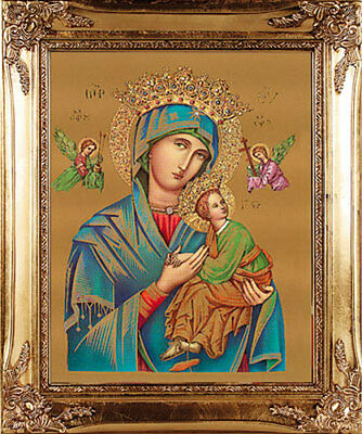 LARGE MOTHER OF PERPETUAL HELP GOLD FRAMED PICTURE CATHOLIC RELIGIOUS 100's MORE