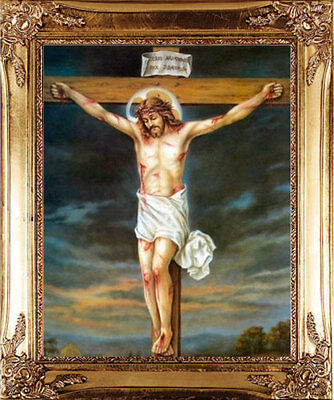 Large Crucifixion Jesus On The Cross Gold Framed Picture Statues Candles Listed