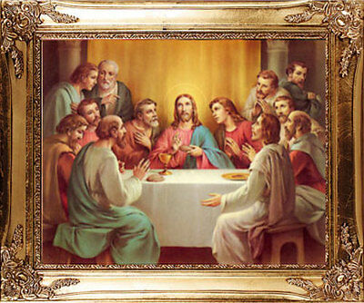 Large - Last Supper Jesus Disciples Gold Framed Picture - Statues Candles Listed