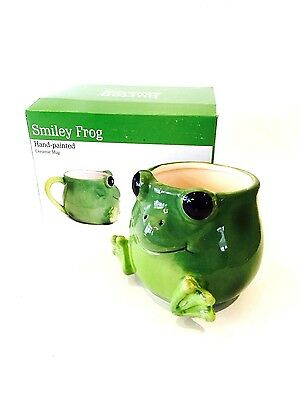 "MUG EXTRA LARGE HAND PAINTED BIG SMILE FROG BIG EYES 5"" WIDE HOLDS 17oz FDA SAFE"