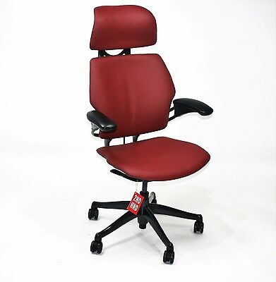 Humanscale Freedom Hi Back Chair   New Burgandy Leather