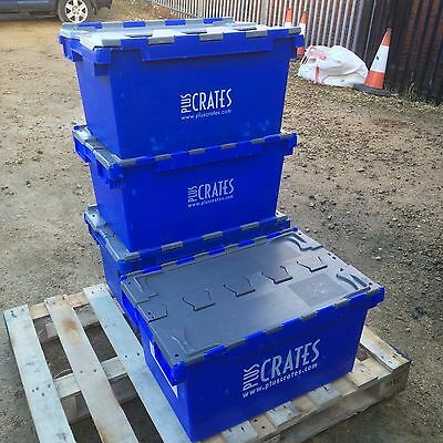 4 x Heavy Duty Plastic 80L Stackable Commercial Storage Boxes With Lid Crate