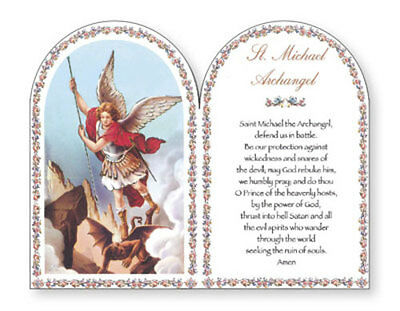 St Michael The Archangel Wooden Plaque Religious Candles Statues Pictures Listed