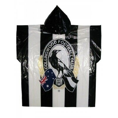 Collingwood Magpies Official AFL Full Print Logo Plastic Poncho with Hood