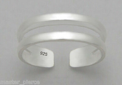 TJS 925 Sterling Silver Double Band Line Design Toe Ring Adjustable Jewellery
